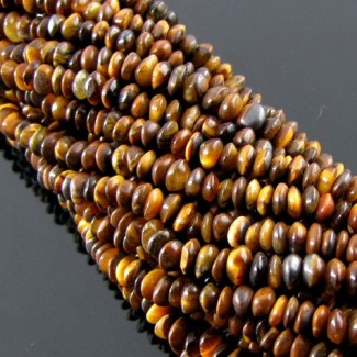 Tiger Eye 4-5mm Smooth Button Shape Beads Strand