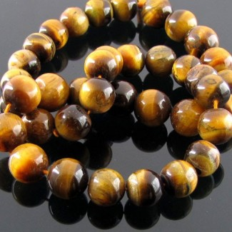 Tiger Eye 10-10.5mm Smooth Round Shape Beads Strand