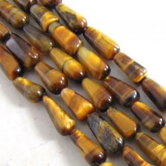 Tiger Eye 10-12mm Smooth Drops Shape Beads Strand