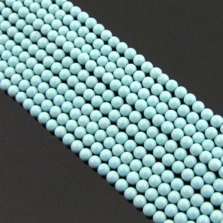 Turquoise 2-2.5mm Smooth Round Shape Beads Strand