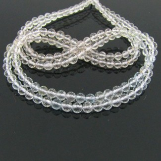 White Topaz 4-4.5mm Faceted Round Shape Beads Strand