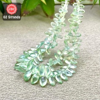Prehnite 6-12mm Smooth Marquise Shape 8 Inch Long Gemstone Beads - Total 2 Strands In The Lot - SKU:158151