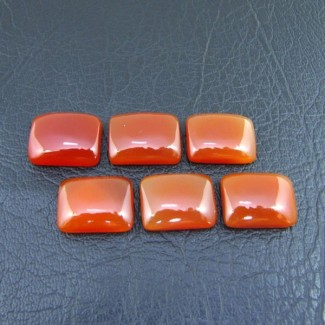 124.50 Cts. Carnelian 20x15mm Cushion Shape Cabochon Parcel (6 Pcs.)