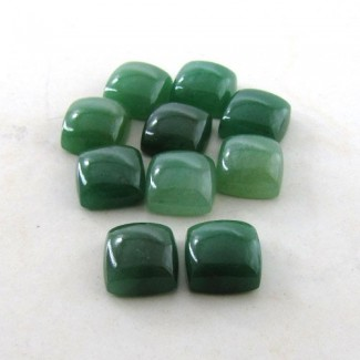167.9 Cts. Green Aventurine 15mm Square Cushion Shape Cabochon Parcel (10 Pcs.)