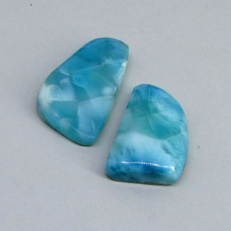 85.10 Cts. Larimar 30x19-36x20mm Fancy Shape Cabochon Parcel (2 Pcs.)