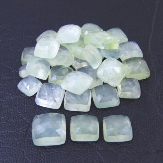 145.80 Cts. Prehnite 7-12mm Square Cushion Shape Cabochon Parcel (33 Pcs.)