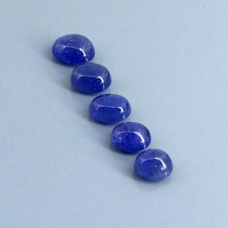 27.63 Cts. Tanzanite 9.5x7.5-11.5x10mm Oval Shape Cabochon Parcel (5 Pcs.)