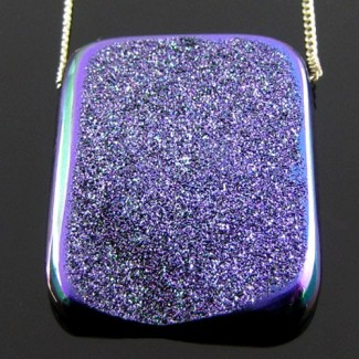 37 Ct. Violet Blush Color 29x23mm Cushion Shape Drusy Quartz