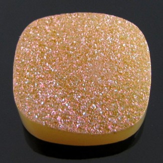 24 Ct. Azalea Pink Color 20mm Cushion Shape Drusy Quartz