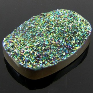 67.65 Ct. Lime Light Color 36x25mm Cushion Shape Drusy Quartz