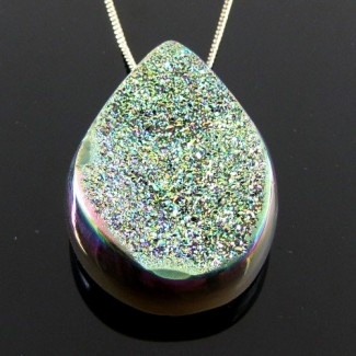 67.3 Ct. Lime Light Color 39x25mm Pear Shape Drusy Quartz