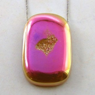 72 Ct. Azalea Pink Color 40x26mm Cushion Shape Drusy Quartz